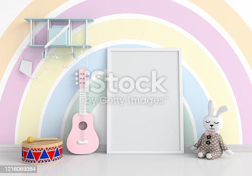 Empty photo frame for mockup on floor in child living room, 3D rendering