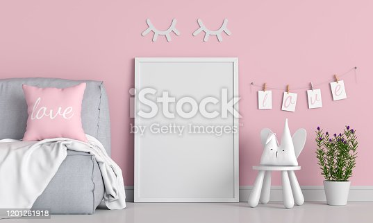 istock Empty photo frame for mockup in child room 1201261918