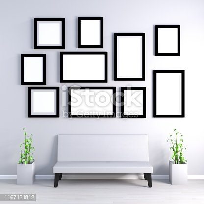 Empty Photo Frames on Wall with Furniture
