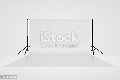3d render of empty photo studio with lightning equipment, White and black colors.
