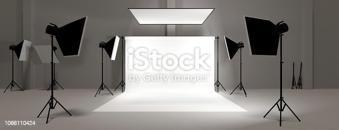 3d render empty photo studio background