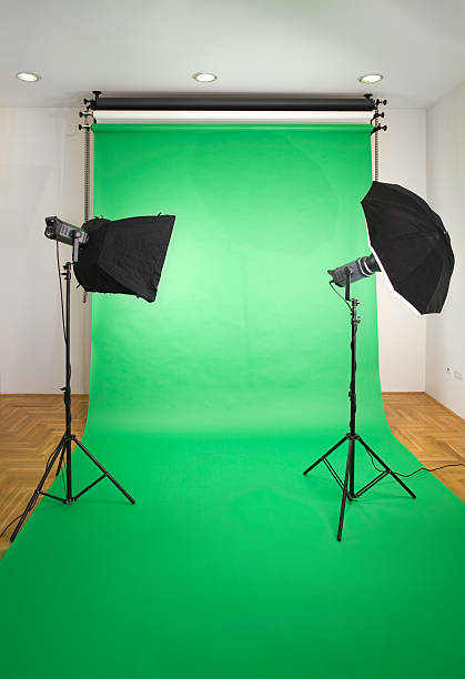 empty photo studio - green screen background stock photos and pictures