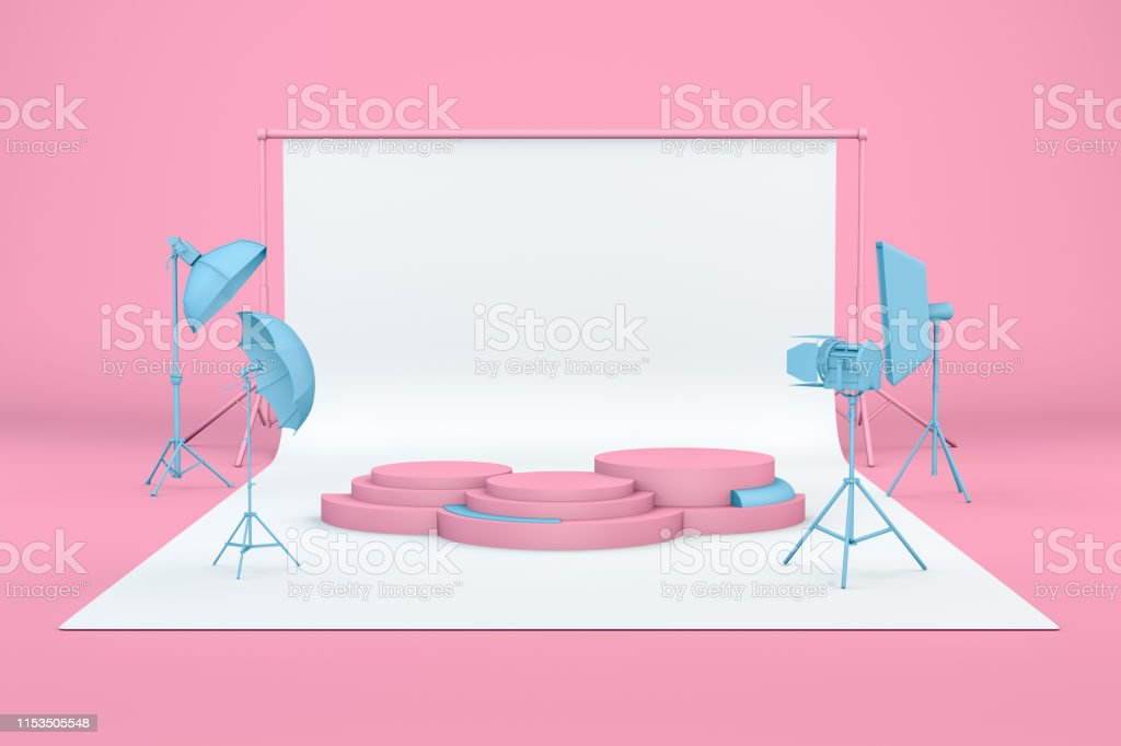 3d render of empty photo studio with lightning equipment and product...