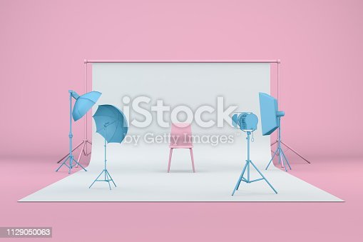 3d render of empty photo studio with lightning equipment, pastel colors, blue and pink.