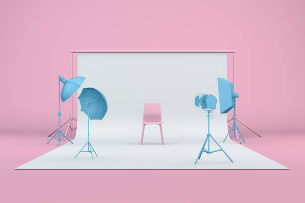 Empty Photo studio with lightning equipment 3d render of empty photo studio with lightning equipment, pastel colors, blue and pink. studio stock pictures, royalty-free photos & images