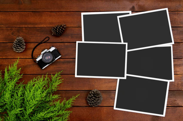 Empty Photos on the Wood Background