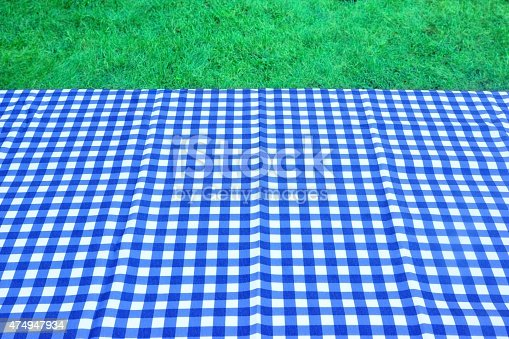 1048926386 istock photo Empty Picnic Table With Blue White Tablecloth Background 474947934