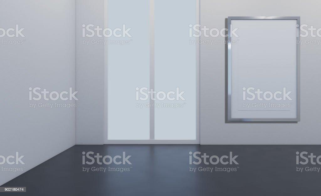 Empty picture. Blank room. 3D rendering.