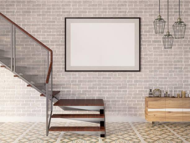 leerer grafikrahmen mit treppe - bild wandtreppe stock-fotos und bilder