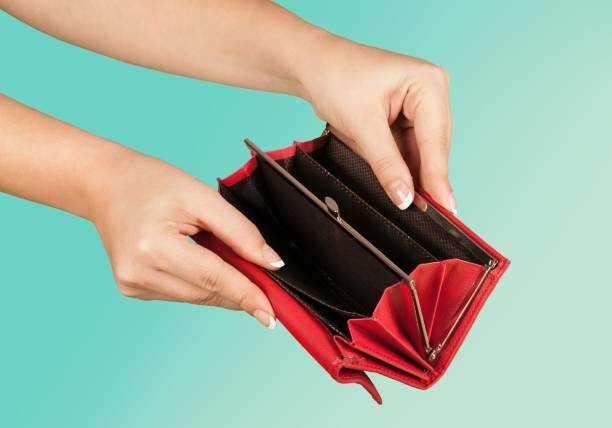 Empty. Female hands with an empty wallet empty wallet stock pictures, royalty-free photos & images