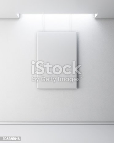 istock Empty picture on white wall. 503585846