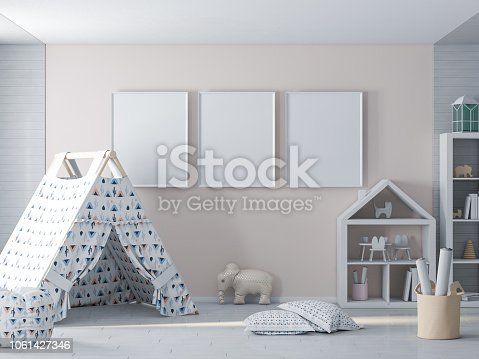 1061427386 istock photo Empty picture, poster frame on wall in kids room 1061427346