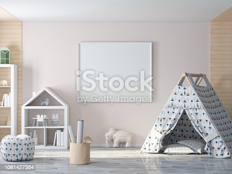 1061427386 istock photo Empty picture, poster frame on wall in kids room 1061427354