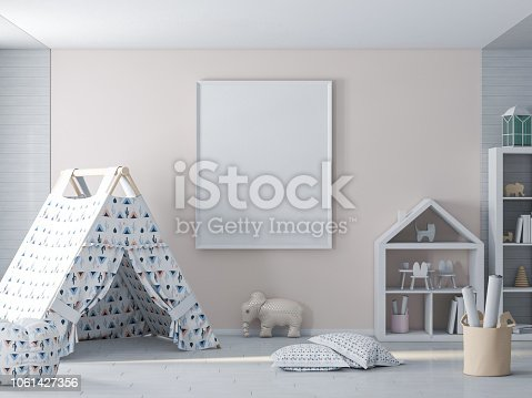1061427386 istock photo Empty picture, poster frame on wall in kids room 1061427356