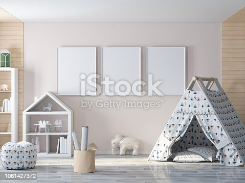 1061427386 istock photo Empty picture, poster frame on wall in kids room 1061427372