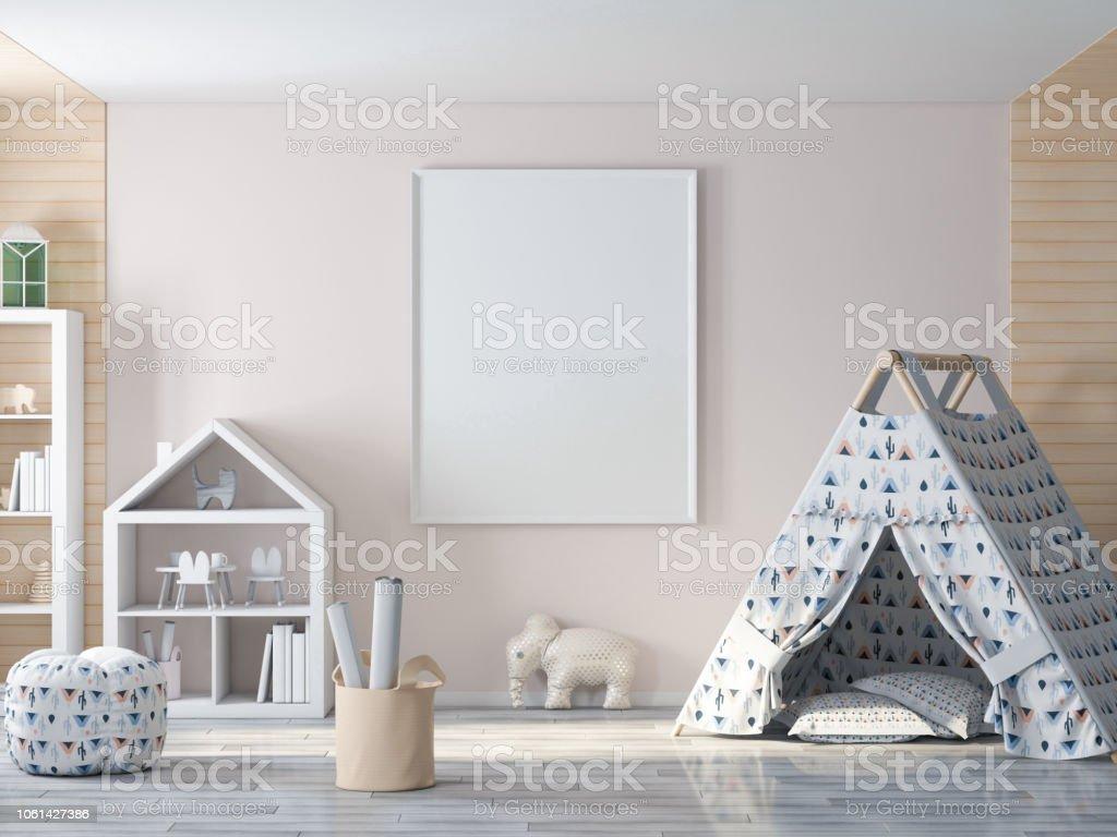 Imagen vacía, marco del cartel en la pared en la habitación de los niños foto de stock libre de derechos