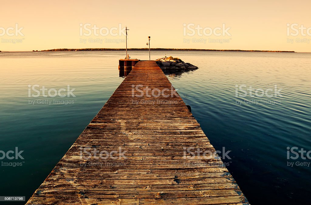 Empty Pier by Water stock photo
