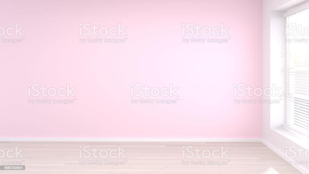 empty pink room White and pink walls modern style 3D rendering room...