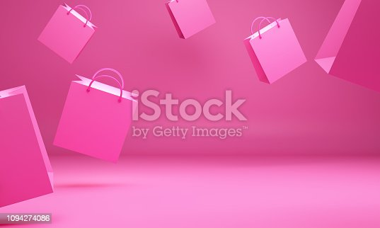 Empty pink shopping bag in the studio lighting, Design concept for valentines day, 3D rendering illustration.