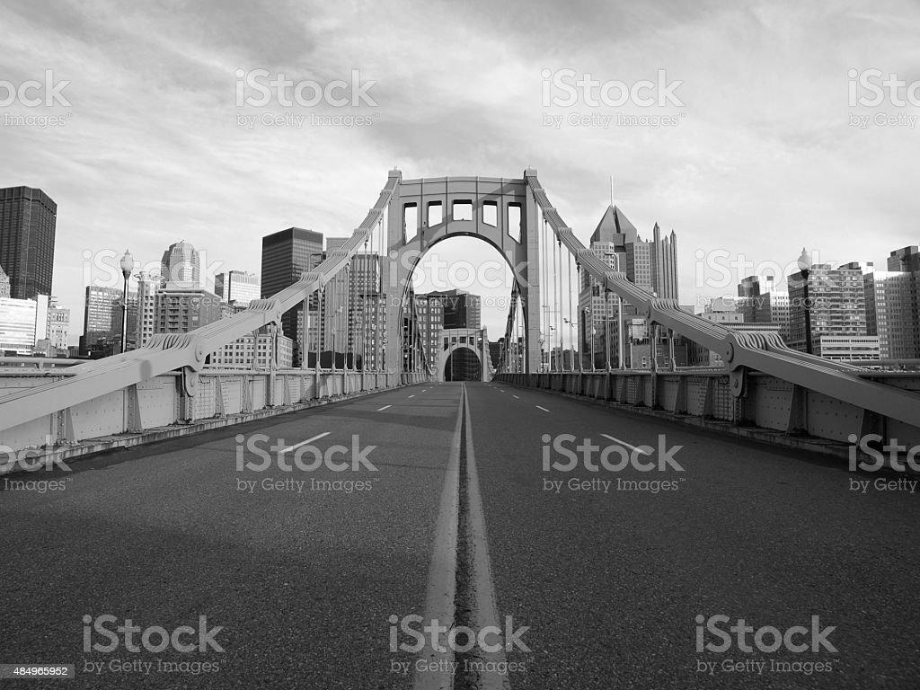 Empty Pittsburgh Bridge Black and White stock photo