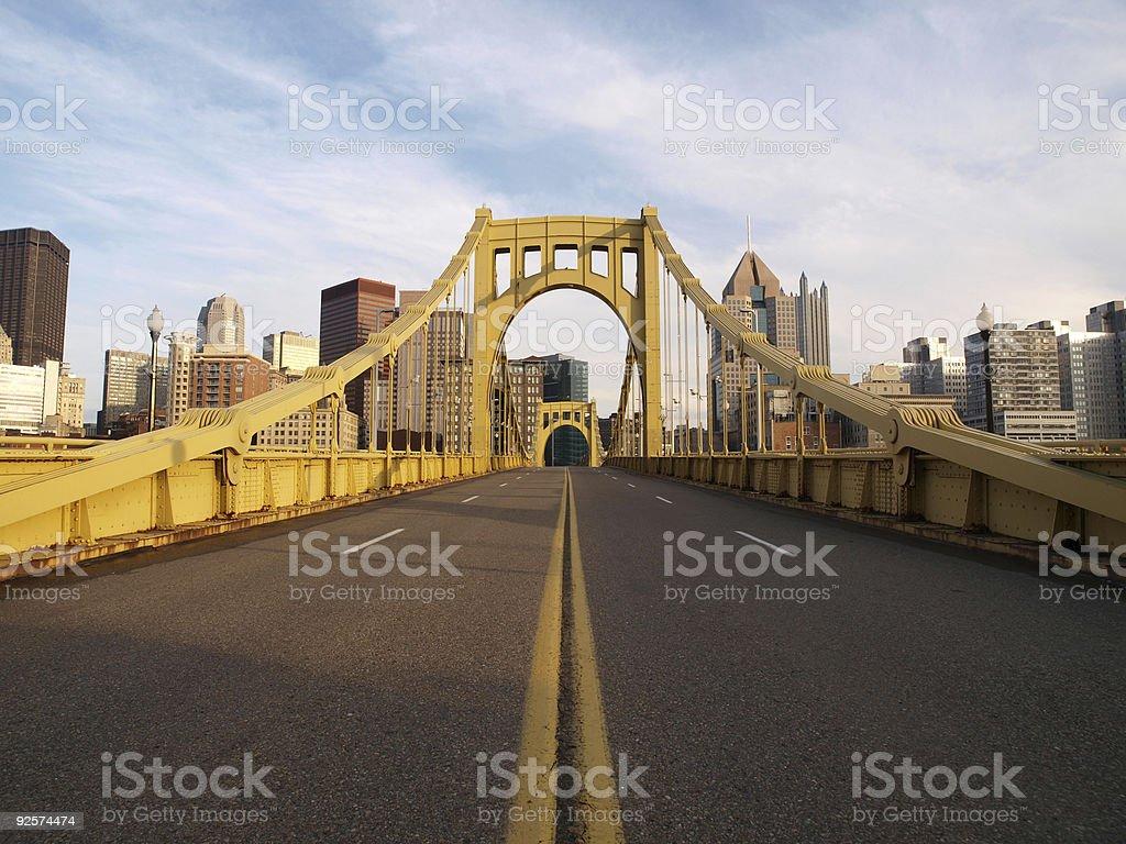 Empty Pittsburgh Bridge stock photo