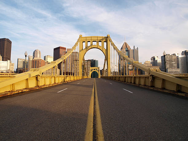 Empty Pittsburgh Bridge  pittsburgh stock pictures, royalty-free photos & images