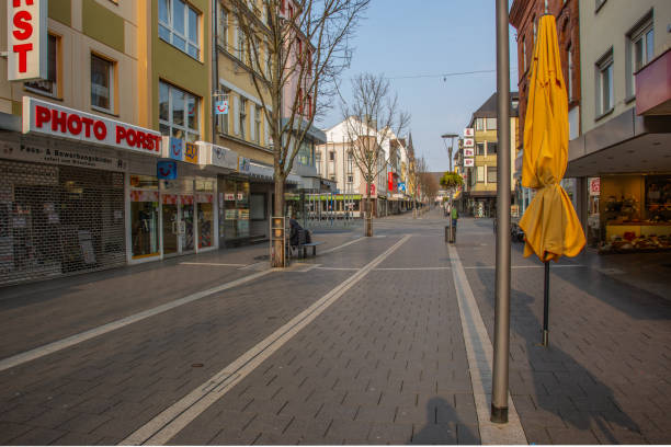 empty place and closed shops in the city center of Neuwied based on Corona pandemic