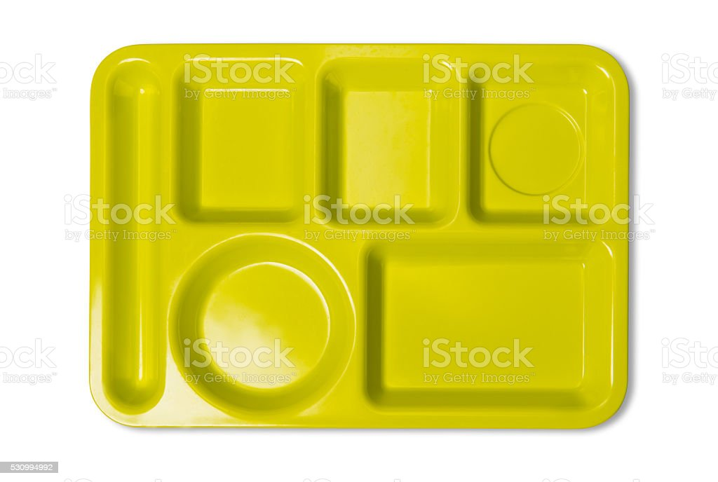 Empty Plastic Cafetiria Tray With Clipping Path stock photo