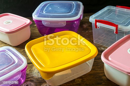 Empty plastic containers for food.