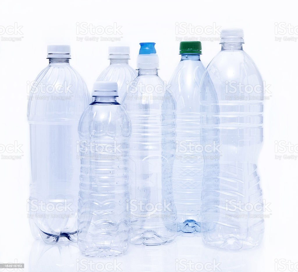 Empty Plastic Drinking Bottles ready for Recycling stock photo