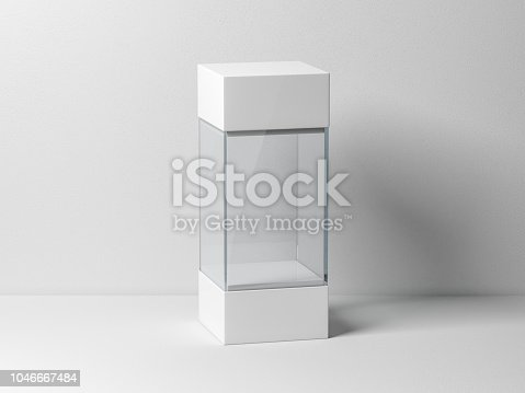 istock Empty plastic glass box package mockup for exhibit 1046667484