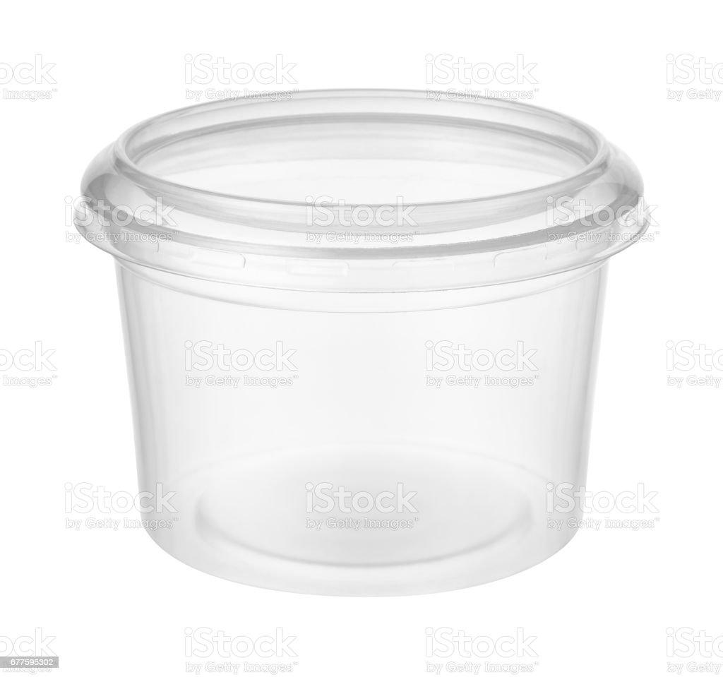 Empty plastic jar isolated on white background stock photo