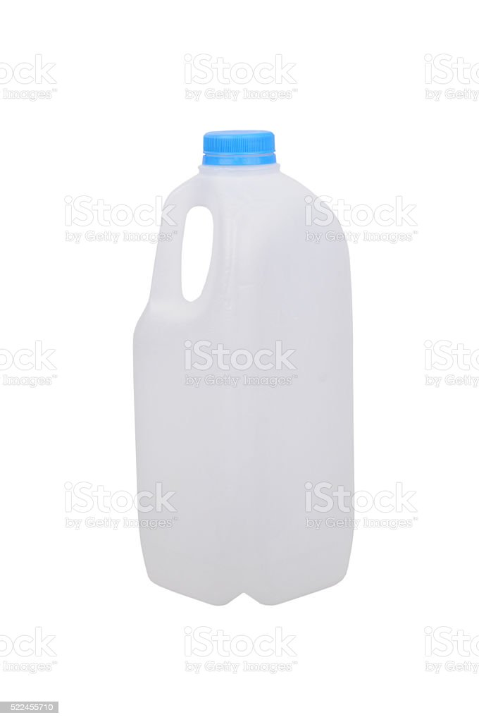 Empty Plastic Milk Bottle stock photo