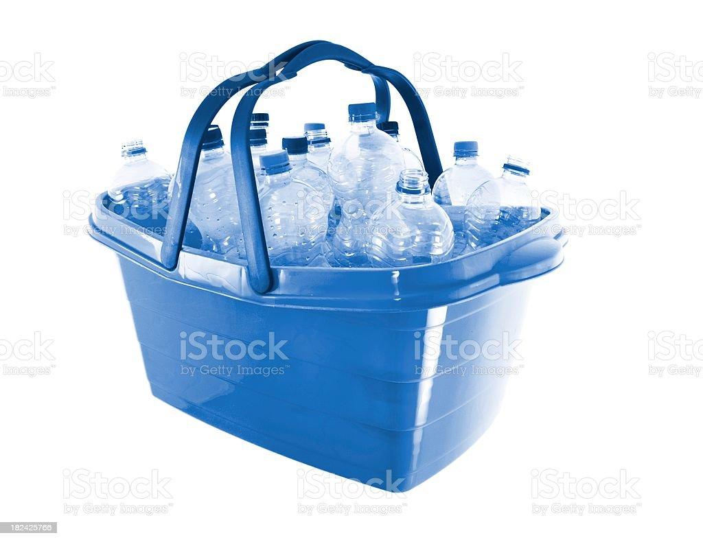 empty plastic water bottles in a basket stock photo