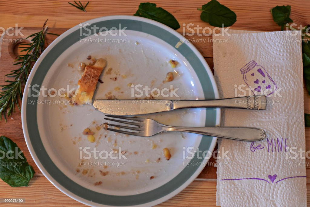 Empty plate after eaten stock photo