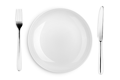 Empty plate, fork, knife, clipping path, white background, isolated, top view