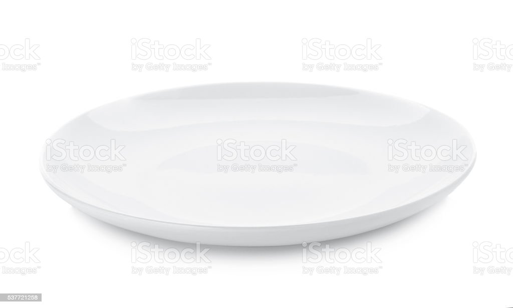 empty plate isolated on white background stock photo