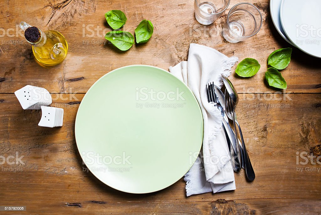 empty plate on table stock photo