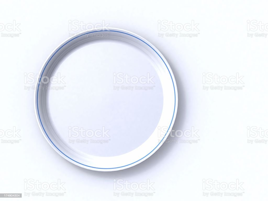 3D empty plate stock photo