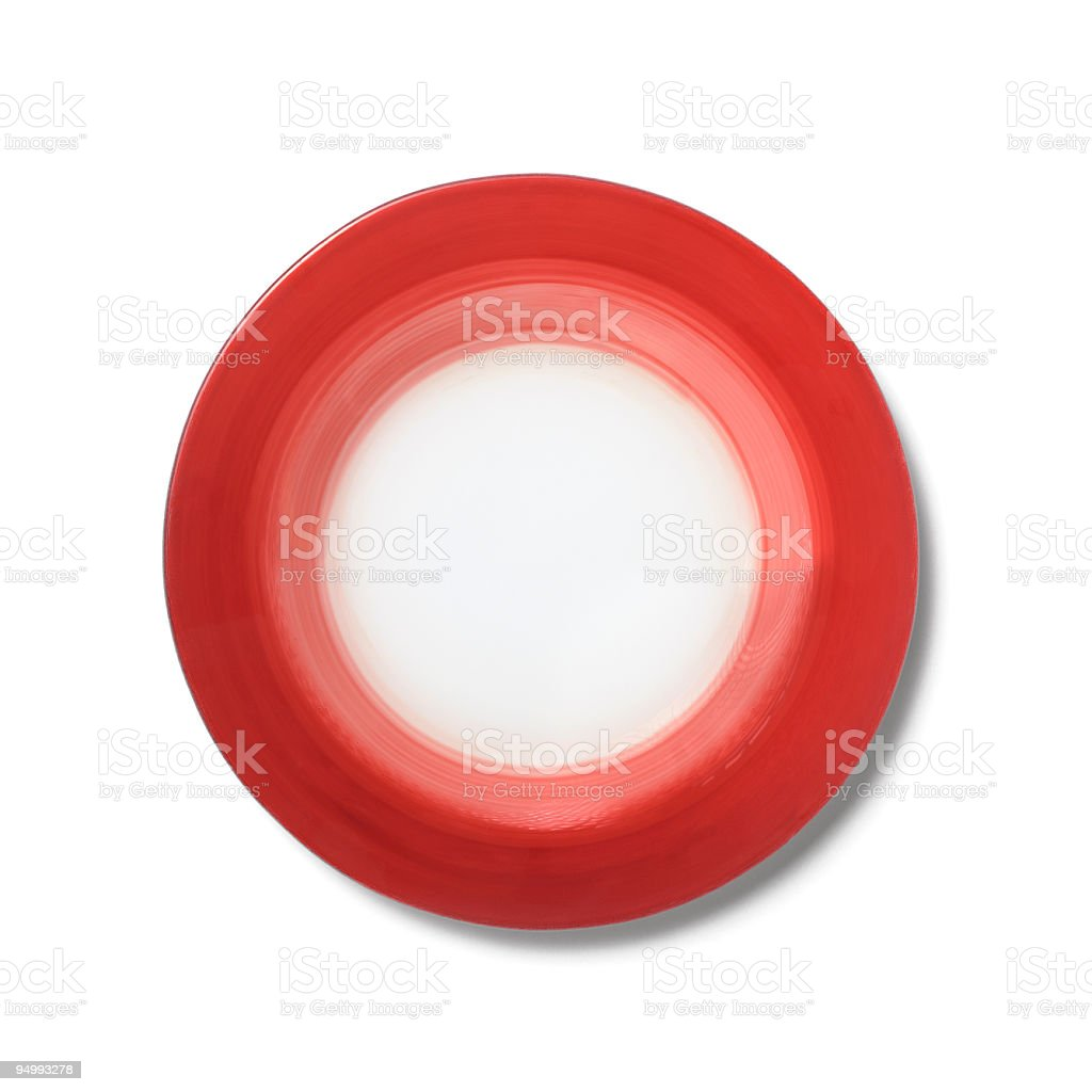 Empty plate with a gradient red border, white background royalty-free stock photo