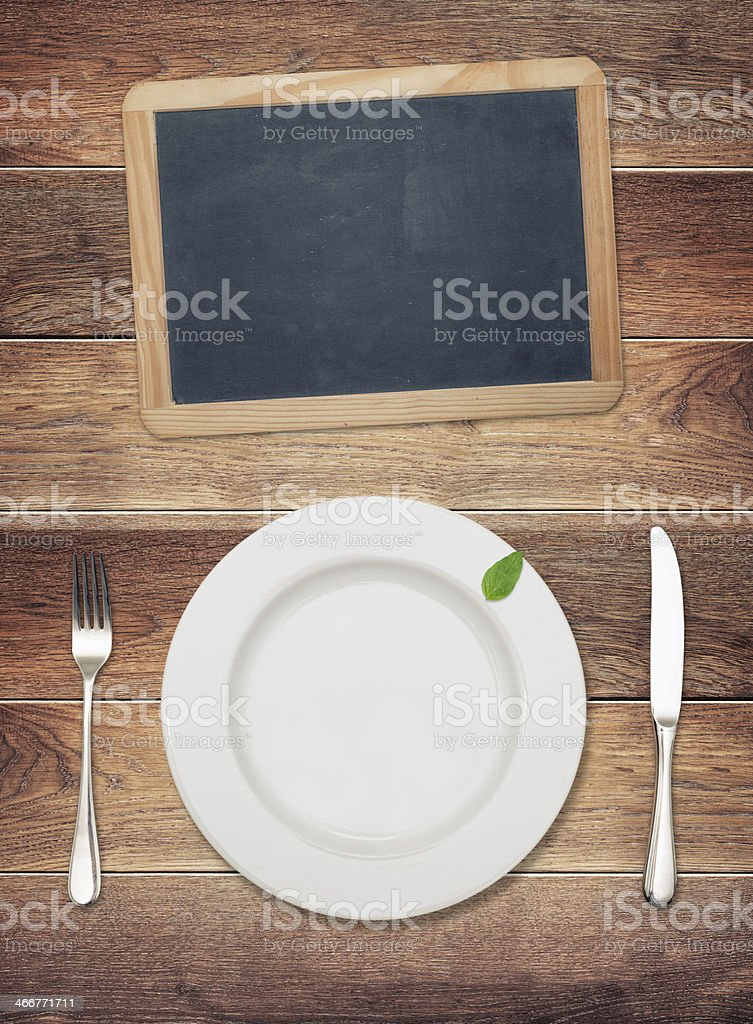 Empty plate with blackboard royalty-free stock photo
