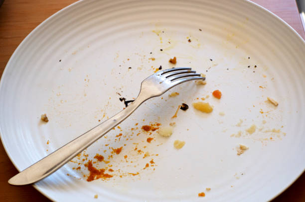 empty plate with fork and food crumbs stock photo