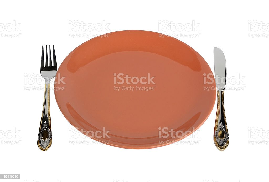 Empty Plate With Fork And Knife royalty-free stock photo
