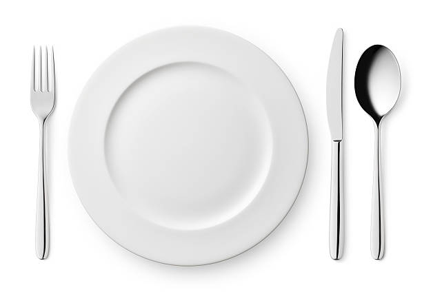 empty plate with fork, knife and spoon - table knife stock photos and pictures