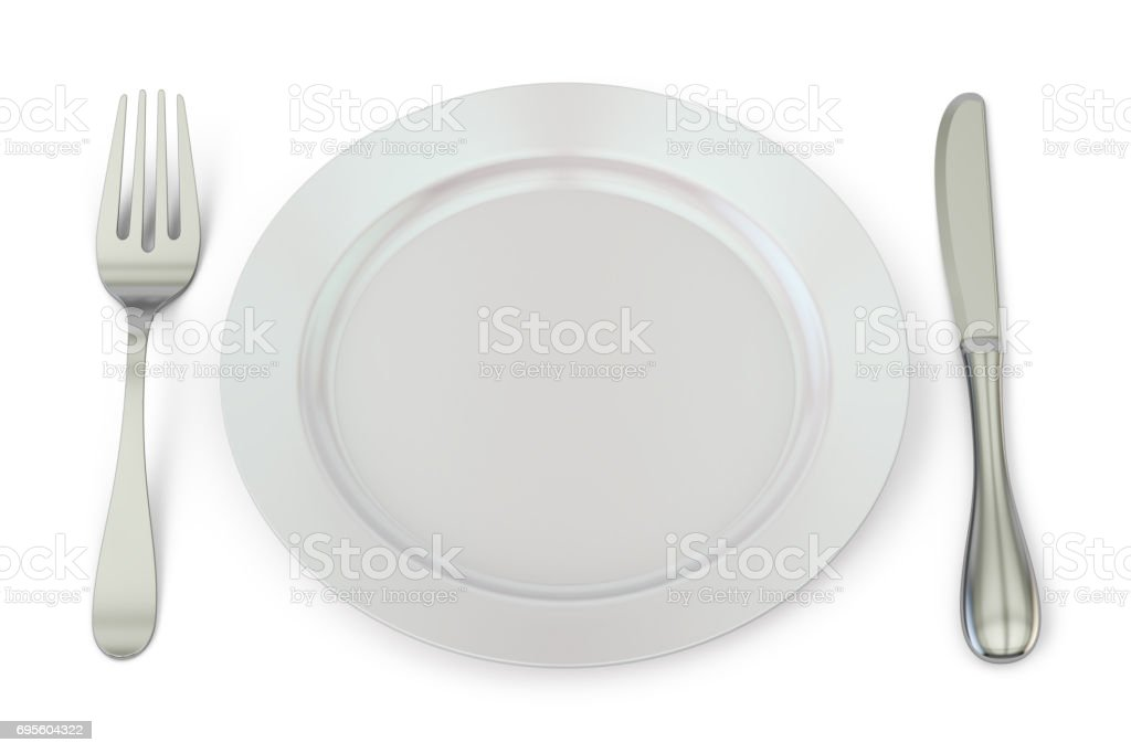Empty plate with knife and fork, 3D rendering stock photo