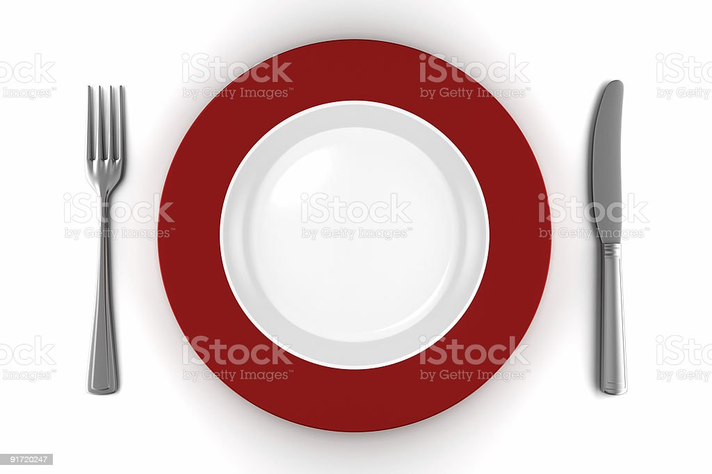 empty plate with knife and fork isolated on white stock photo