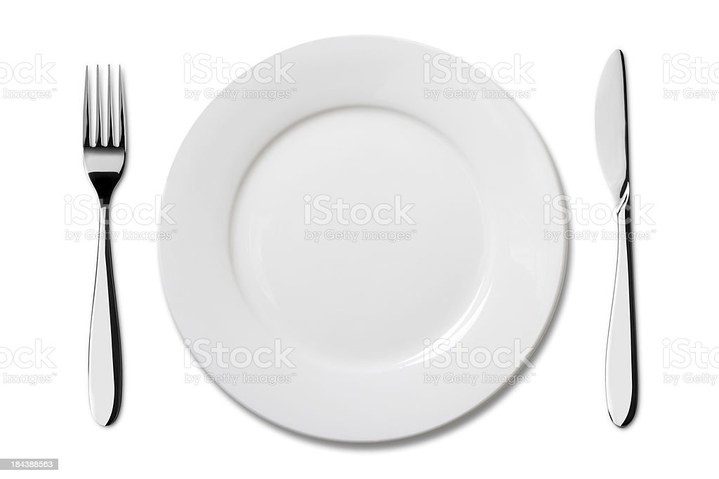 Empty plate with Knife and Fork stock photo