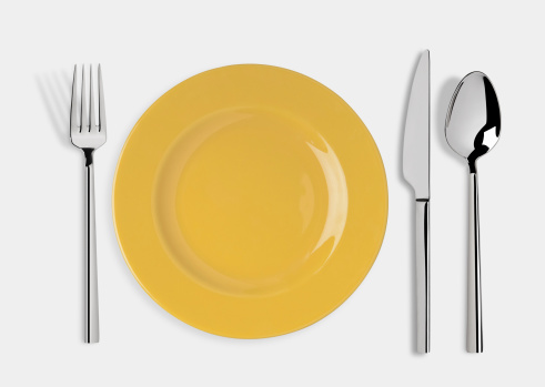 Empty plate with Knife, Spoon and Fork