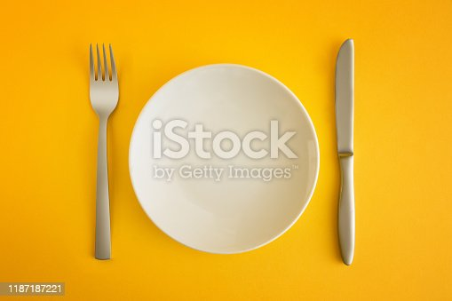 top view of white plate, fork and knife.