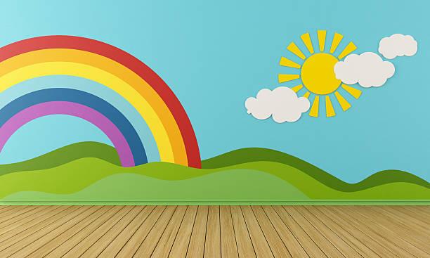 leere spielzimmer mit regenbogen und green hills - lila, grün, schlafzimmer stock-fotos und bilder